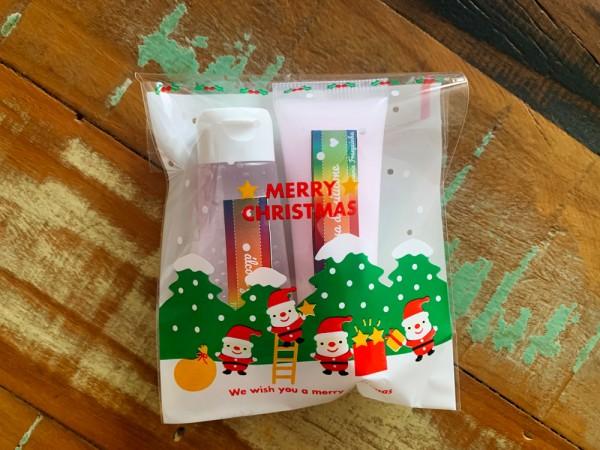 Dupla alcool e luva de silicone natalino