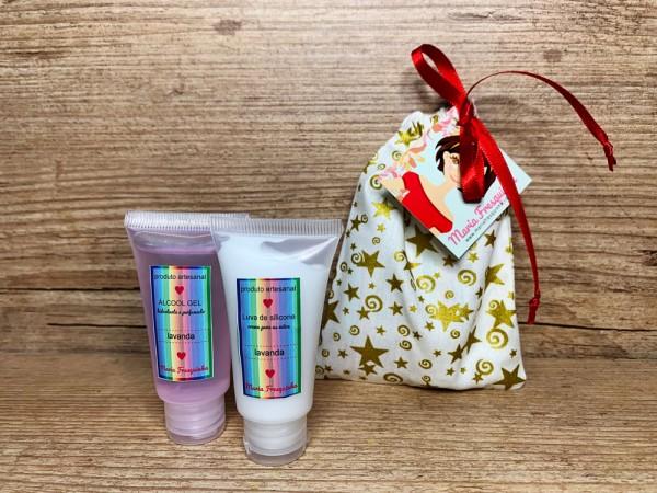 Alcool gel e luva de silicone - natalino